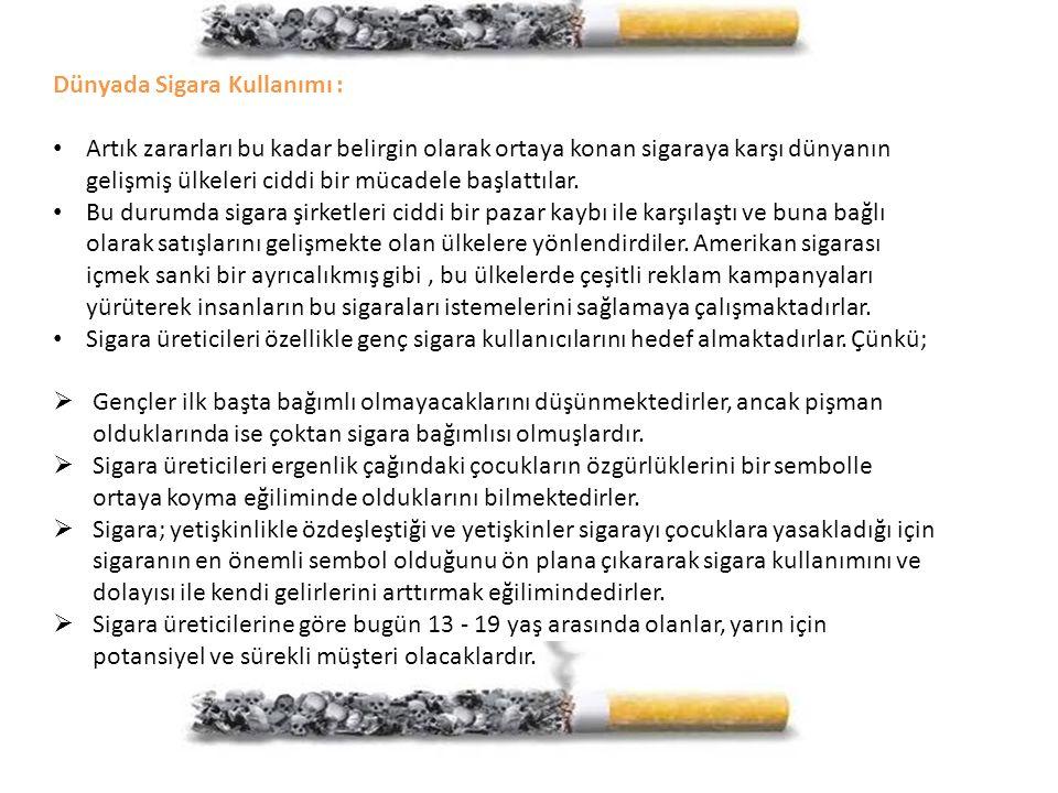 Dünyada Sigara Kullanımı : Artık zararları bu kadar belirgin olarak ortaya konan sigaraya karşı dünyanın gelişmiş ülkeleri ciddi bir mücadele başlattı