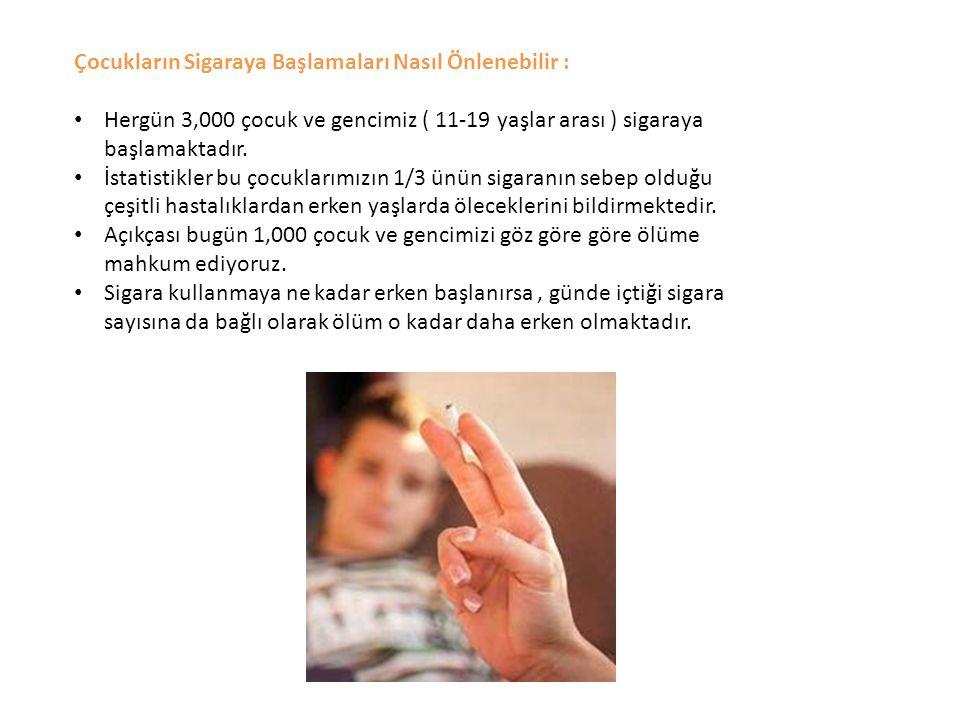 Çocukların Sigaraya Başlamaları Nasıl Önlenebilir : Hergün 3,000 çocuk ve gencimiz ( 11-19 yaşlar arası ) sigaraya başlamaktadır. İstatistikler bu çoc