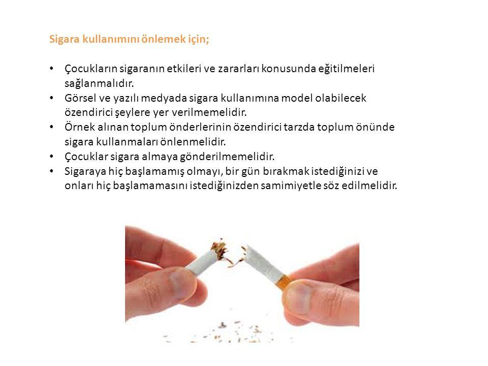 Sigara kullanımını önlemek için; Çocukların sigaranın etkileri ve zararları konusunda eğitilmeleri sağlanmalıdır. Görsel ve yazılı medyada sigara kull