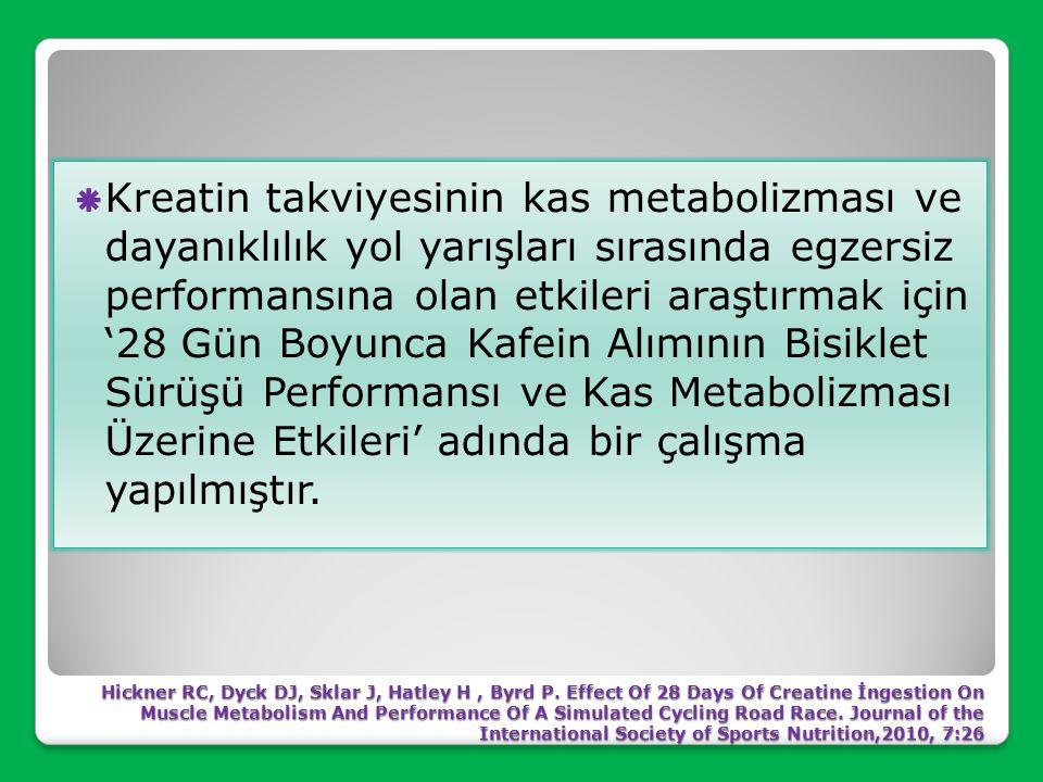 Ana bulgular kreatin takviyesinin en hızlı zaman, ortalama zaman, yorgunluk veya son test kan laktat konsantrasyonu ölçümleri üzerinde önemli bir etki