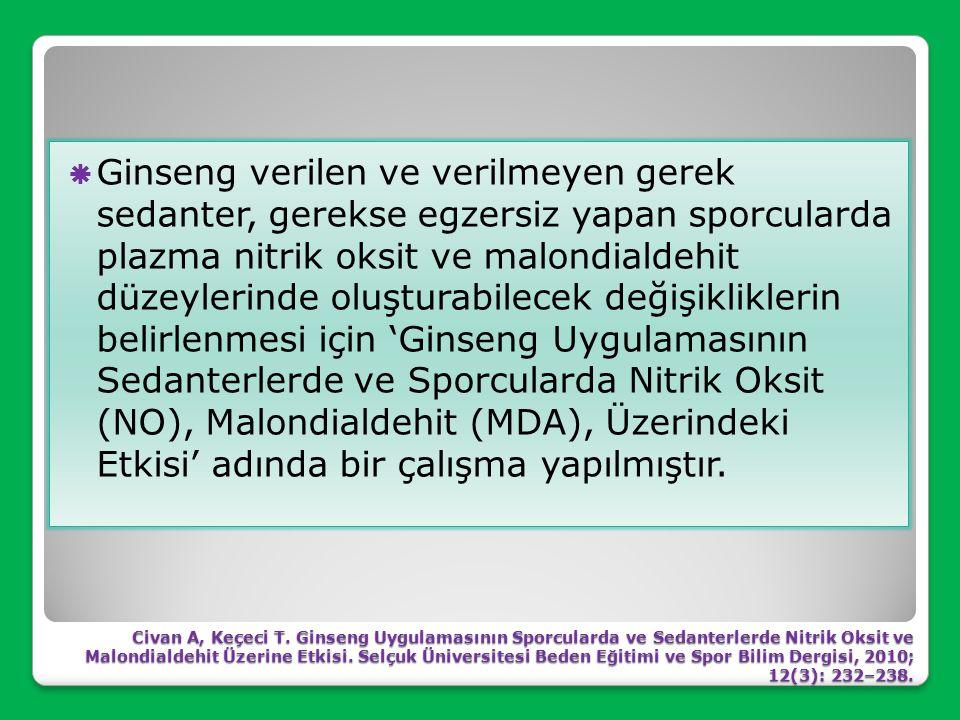 Ginsengin insanlarda fiziksel ve zihinsel kapasiteyi artırdığı ve yorgunluğu azalttığı için geleneksel bir ünü vardır. Ginsengin ergojenik etkileri ya