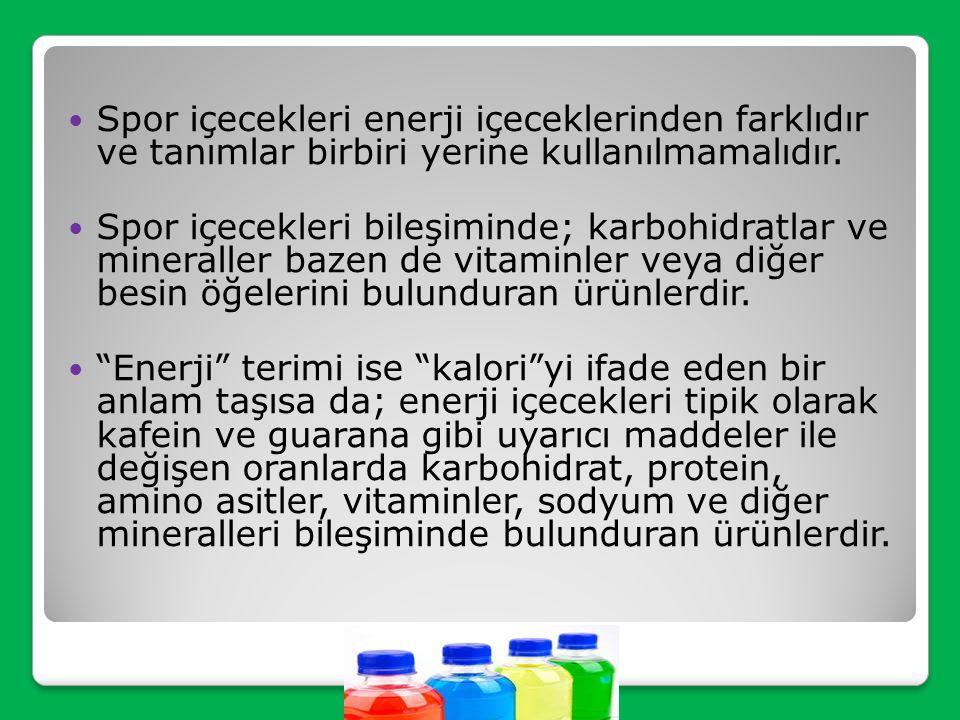 Yaygın kullanılan spor içecekleri %68 karbonhidrat (glikoz, fruktoz, sükroz, maltodekstrin) içermektedir. Ayrıca sodyum, potasyum, magnezyum gibi sıvı