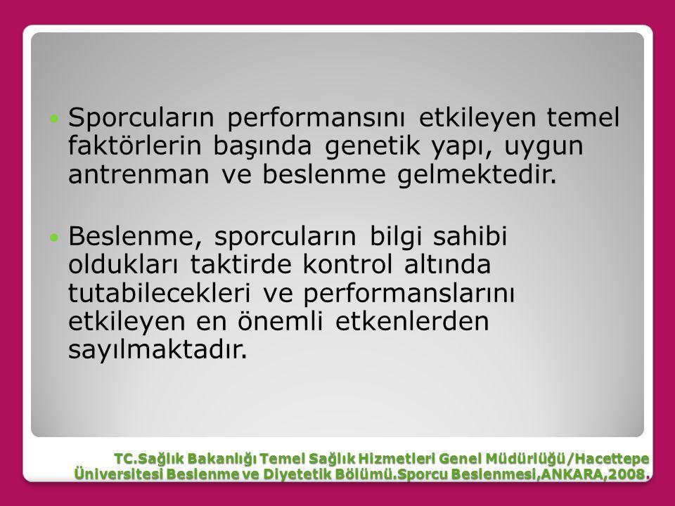 TC.Sağlık Bakanlığı Temel Sağlık Hizmetleri Genel Müdürlüğü/Hacettepe Üniversitesi Beslenme ve Diyetetik Bölümü.Sporcu Beslenmesi,ANKARA,2008.