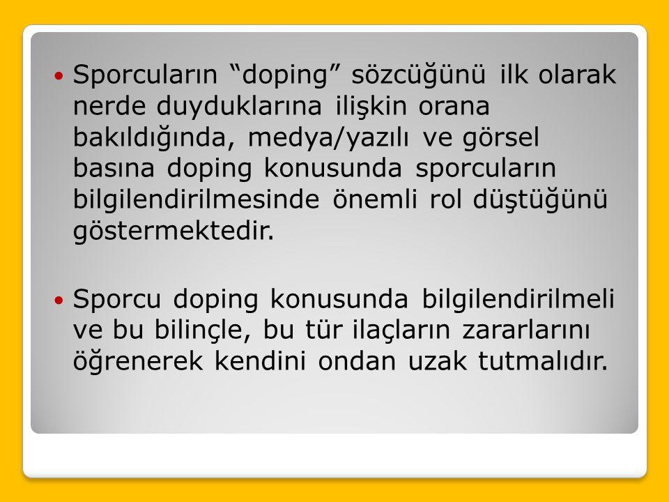 Bu araştırmanın sonucunda, Sporcuların önemli bir kısmının doping hakkında az bilgi sahibi oldukları görülmüştür. Bu durumun da zaman zaman olumsuz et
