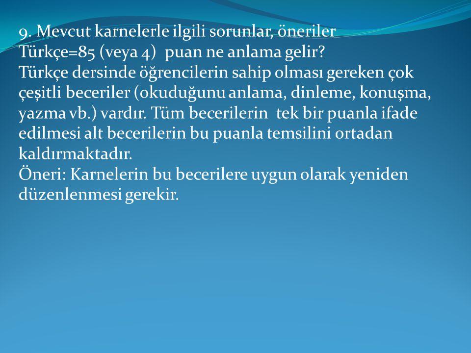 9. Mevcut karnelerle ilgili sorunlar, öneriler Türkçe=85 (veya 4) puan ne anlama gelir? Türkçe dersinde öğrencilerin sahip olması gereken çok çeşitli