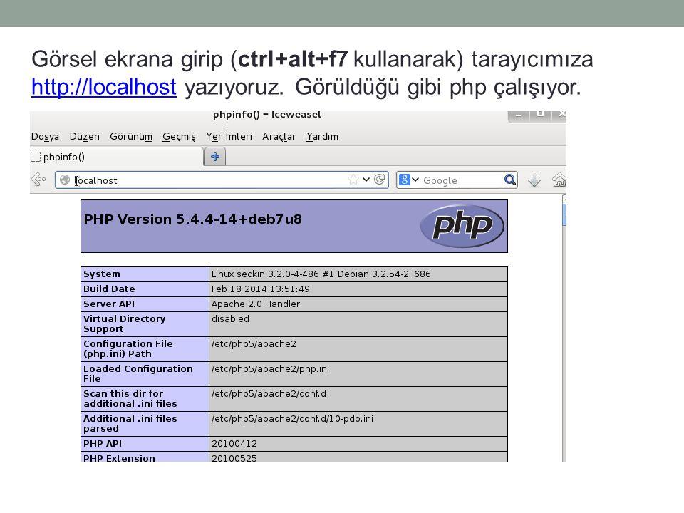 Görsel ekrana girip (ctrl+alt+f7 kullanarak) tarayıcımıza http://localhost yazıyoruz. Görüldüğü gibi php çalışıyor. http://localhost