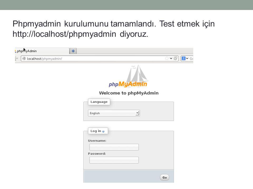 Phpmyadmin kurulumunu tamamlandı. Test etmek için http://localhost/phpmyadmin diyoruz.