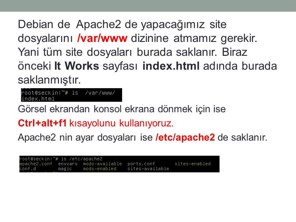 Debian de Apache2 de yapacağımız site dosyalarını /var/www dizinine atmamız gerekir. Yani tüm site dosyaları burada saklanır. Biraz önceki It Works sa
