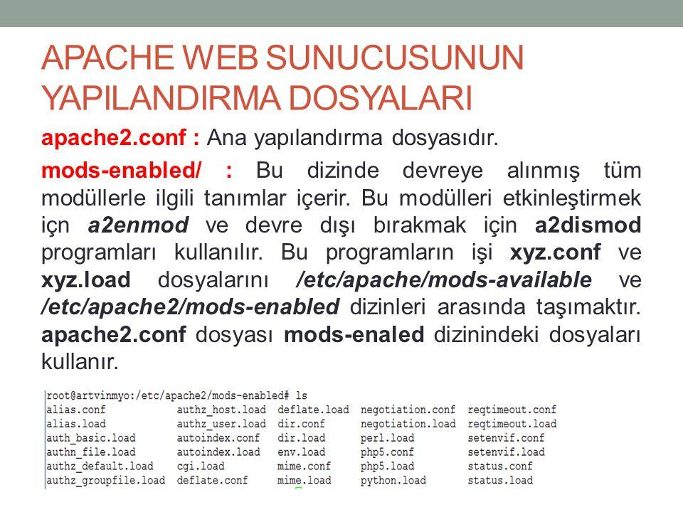 APACHE WEB SUNUCUSUNUN YAPILANDIRMA DOSYALARI apache2.conf : Ana yapılandırma dosyasıdır. mods-enabled/ : Bu dizinde devreye alınmış tüm modüllerle il