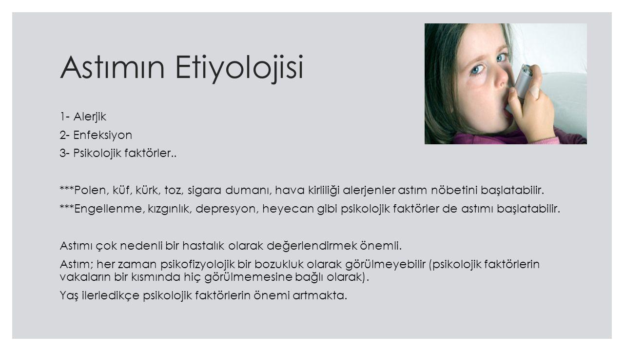 Astımın Etiyolojisi 1- Alerjik 2- Enfeksiyon 3- Psikolojik faktörler..