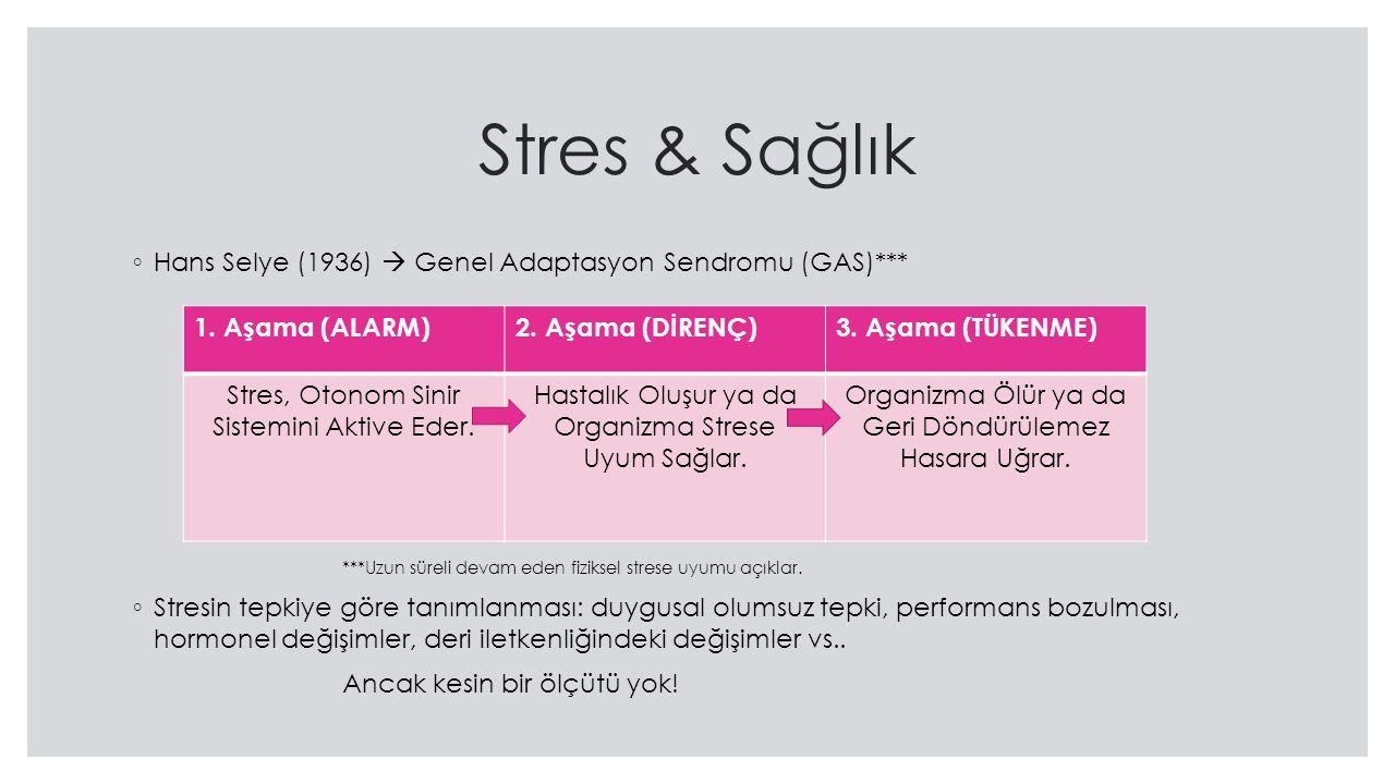 Stres & Sağlık ◦ Hans Selye (1936)  Genel Adaptasyon Sendromu (GAS)*** ***Uzun süreli devam eden fiziksel strese uyumu açıklar.