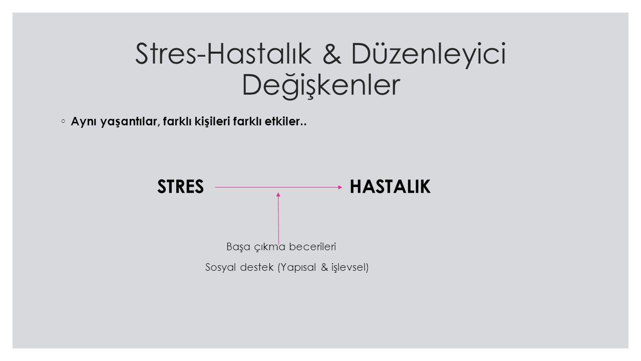 Stres-Hastalık & Düzenleyici Değişkenler ◦ Aynı yaşantılar, farklı kişileri farklı etkiler..