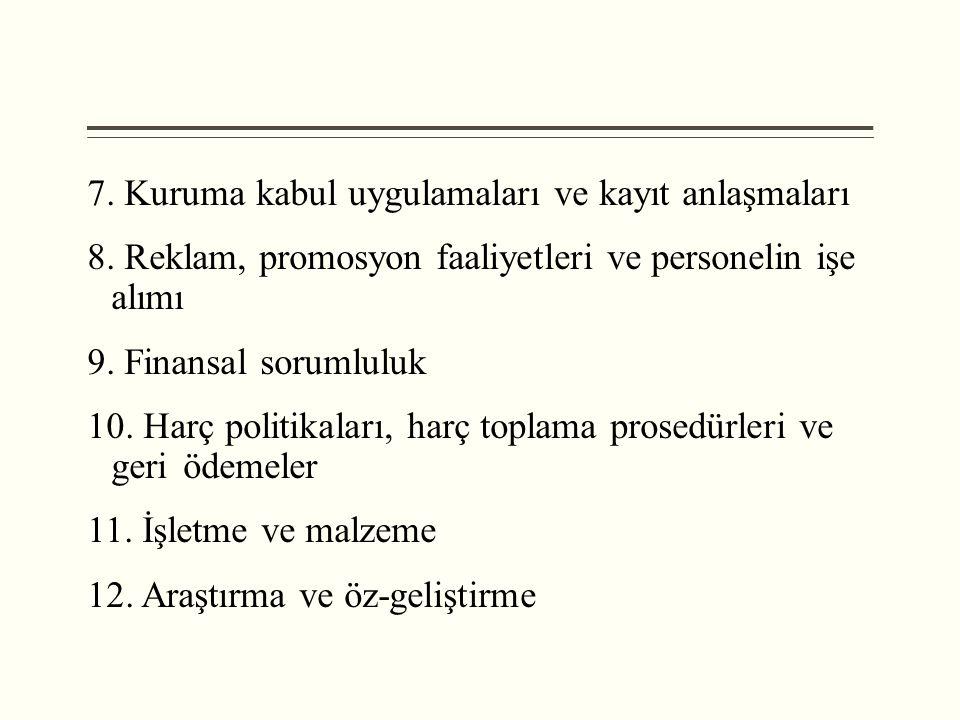 7. Kuruma kabul uygulamaları ve kayıt anlaşmaları 8. Reklam, promosyon faaliyetleri ve personelin işe alımı 9. Finansal sorumluluk 10. Harç politikala