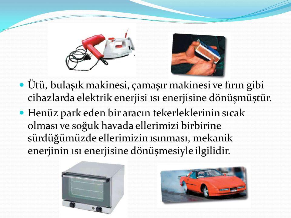 Ütü, bulaşık makinesi, çamaşır makinesi ve fırın gibi cihazlarda elektrik enerjisi ısı enerjisine dönüşmüştür.