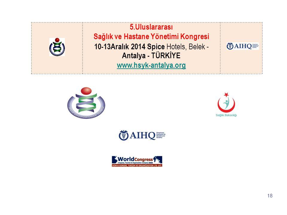 LOGO 18 5.Uluslararası Sağlık ve Hastane Yönetimi Kongresi 10-13Aralık 2014 Spice Hotels, Belek - Antalya - TÜRKİYE www.hsyk-antalya.org