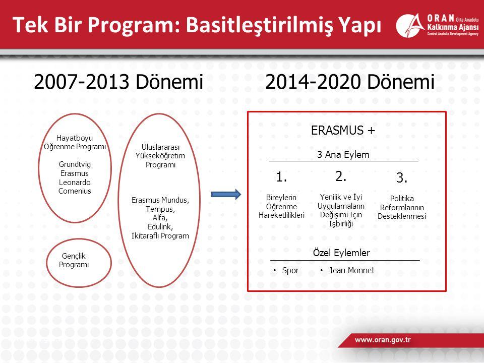 Tek Bir Program: Basitleştirilmiş Yapı Hayatboyu Öğrenme Programı Grundtvig Erasmus Leonardo Comenius Gençlik Programı ERASMUS + 3 Ana Eylem 1. Bireyl