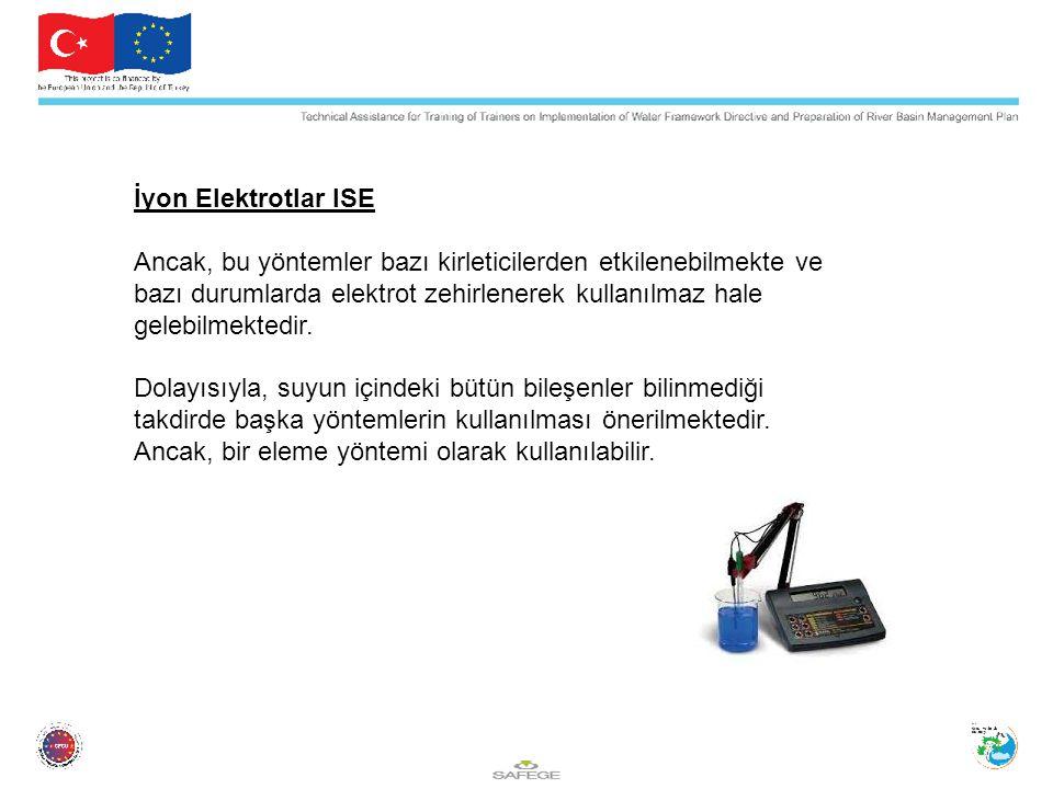 İyon Elektrotlar ISE Ancak, bu yöntemler bazı kirleticilerden etkilenebilmekte ve bazı durumlarda elektrot zehirlenerek kullanılmaz hale gelebilmektedir.