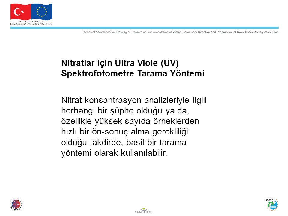 Nitratlar için Ultra Viole (UV) Spektrofotometre Tarama Yöntemi Nitrat konsantrasyon analizleriyle ilgili herhangi bir şüphe olduğu ya da, özellikle yüksek sayıda örneklerden hızlı bir ön-sonuç alma gerekliliği olduğu takdirde, basit bir tarama yöntemi olarak kullanılabilir.