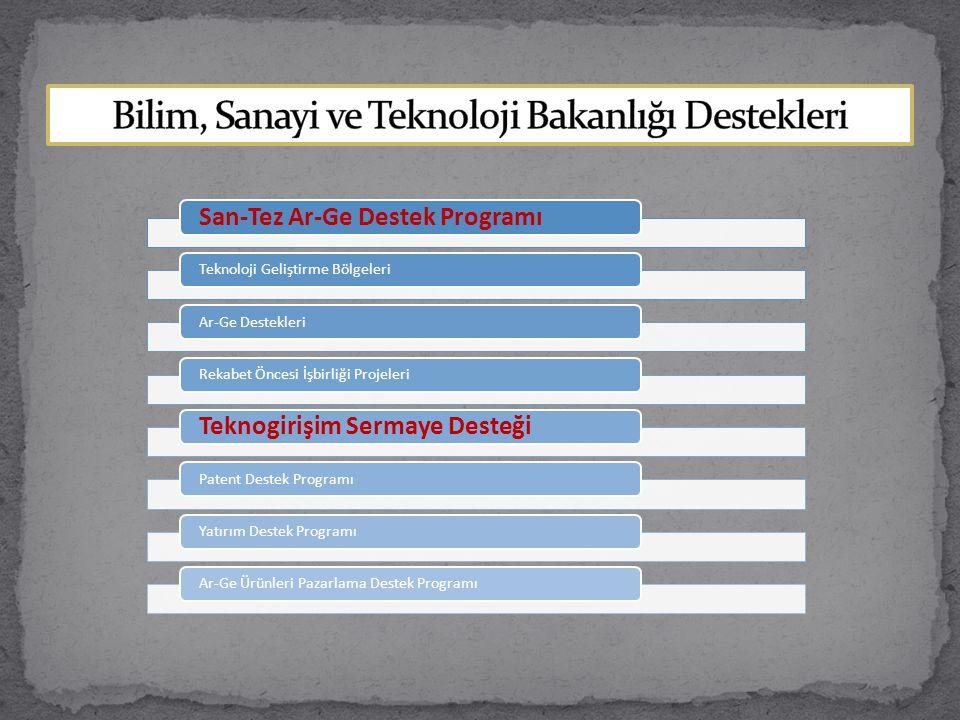 San-Tez Ar-Ge Destek Programı Teknoloji Geliştirme BölgeleriAr-Ge DestekleriRekabet Öncesi İşbirliği Projeleri Teknogirişim Sermaye Desteği Patent Des