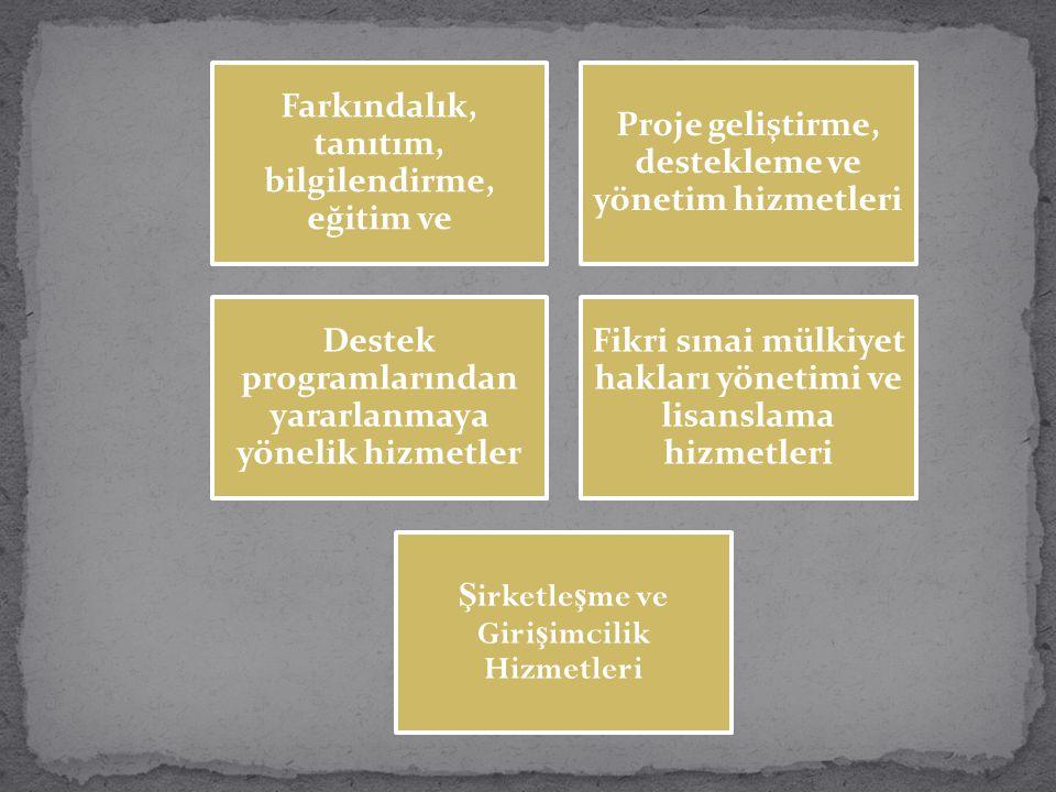 Farkındalık, tanıtım, bilgilendirme, eğitim ve Proje geliştirme, destekleme ve yönetim hizmetleri Destek programlarından yararlanmaya yönelik hizmetle