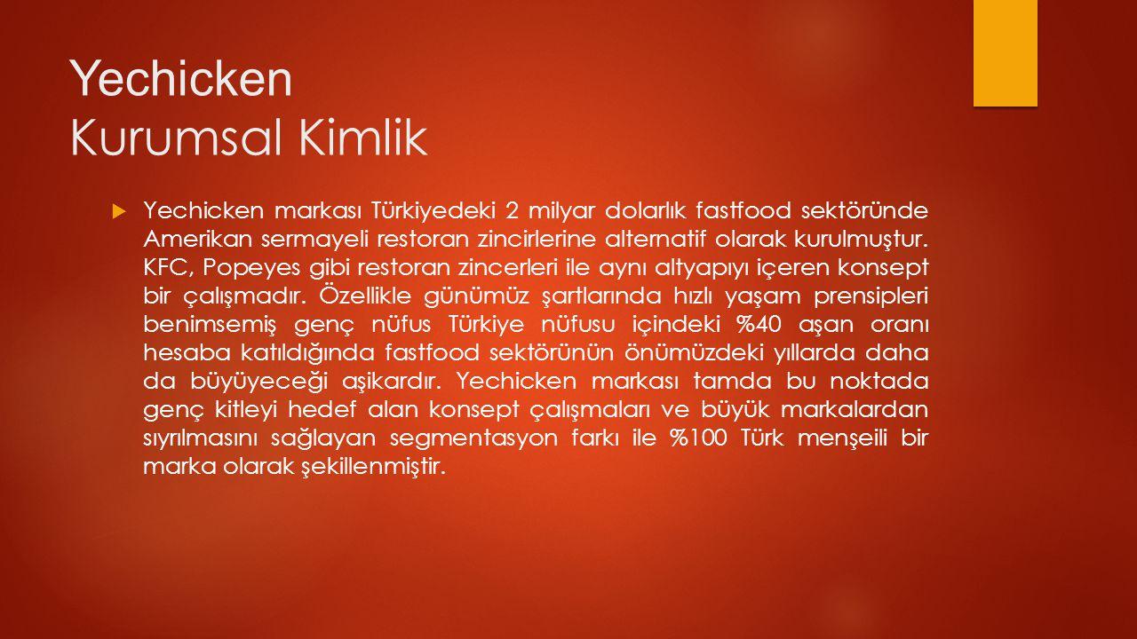 Yechicken Kurumsal Kimlik  Yechicken markası Türkiyedeki 2 milyar dolarlık fastfood sektöründe Amerikan sermayeli restoran zincirlerine alternatif olarak kurulmuştur.