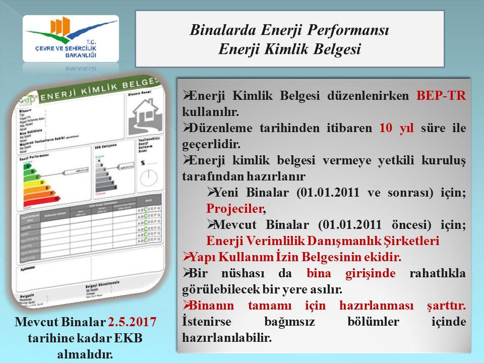 Binalarda Enerji Performansı Enerji Kimlik Belgesi  Enerji Kimlik Belgesi düzenlenirken BEP-TR kullanılır.  Düzenleme tarihinden itibaren 10 yıl sür