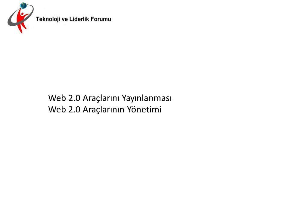 Web 2.0 Araçlarını Yayınlanması Web 2.0 Araçlarının Yönetimi