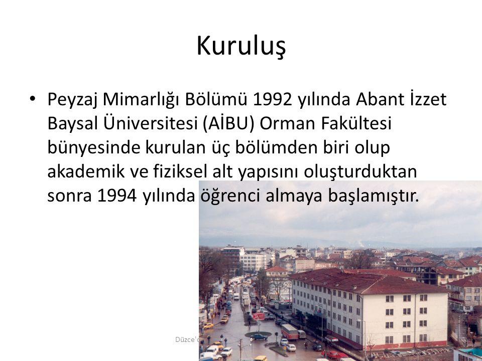 Kuruluş Düzce'de Peyzaj Mimarlığı Eğitiminin 20. Yılı, 17 Ekim 2014 Peyzaj Mimarlığı Bölümü 1992 yılında Abant İzzet Baysal Üniversitesi (AİBU) Orman