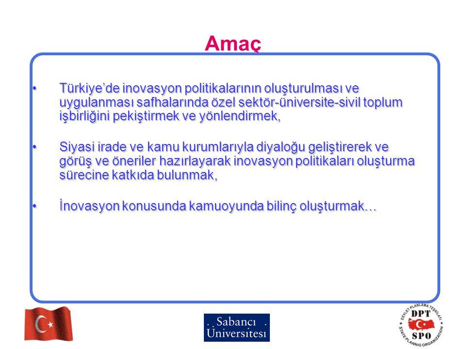 Amaç Türkiye'de inovasyon politikalarının oluşturulması ve uygulanması safhalarında özel sektör-üniversite-sivil toplum işbirliğini pekiştirmek ve yön