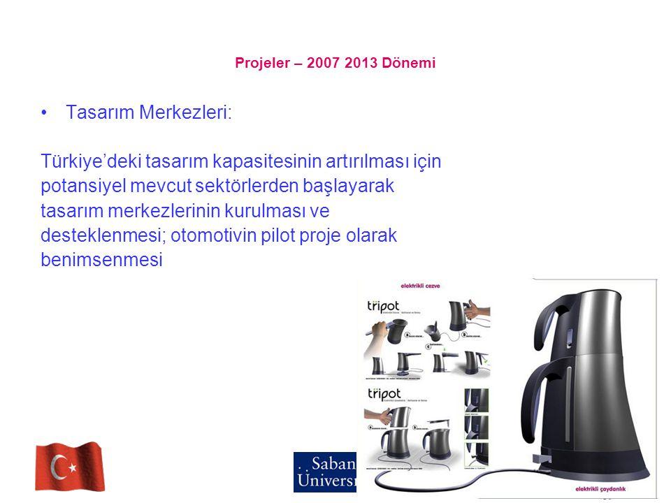 Projeler – 2007 2013 Dönemi Tasarım Merkezleri: Türkiye'deki tasarım kapasitesinin artırılması için potansiyel mevcut sektörlerden başlayarak tasarım