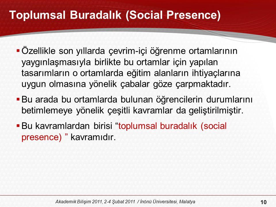 10 Akademik Bilişim 2011, 2-4 Şubat 2011 / İnönü Üniversitesi, Malatya Toplumsal Buradalık (Social Presence)  Özellikle son yıllarda çevrim-içi öğren