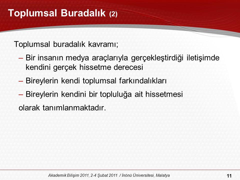 11 Akademik Bilişim 2011, 2-4 Şubat 2011 / İnönü Üniversitesi, Malatya Toplumsal Buradalık (2) Toplumsal buradalık kavramı; –Bir insanın medya araçlar