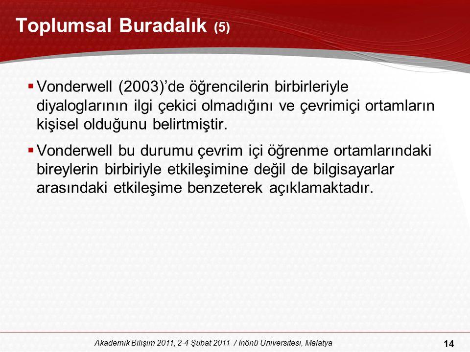 14 Akademik Bilişim 2011, 2-4 Şubat 2011 / İnönü Üniversitesi, Malatya Toplumsal Buradalık (5)  Vonderwell (2003)'de öğrencilerin birbirleriyle diyal