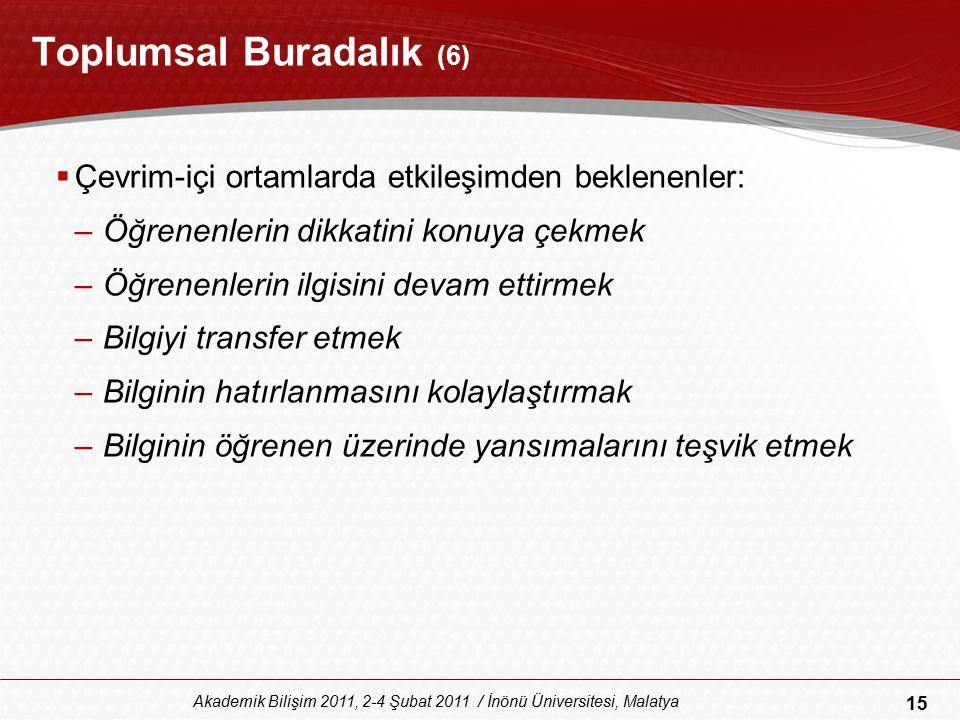 15 Akademik Bilişim 2011, 2-4 Şubat 2011 / İnönü Üniversitesi, Malatya Toplumsal Buradalık (6)  Çevrim-içi ortamlarda etkileşimden beklenenler: –Öğre