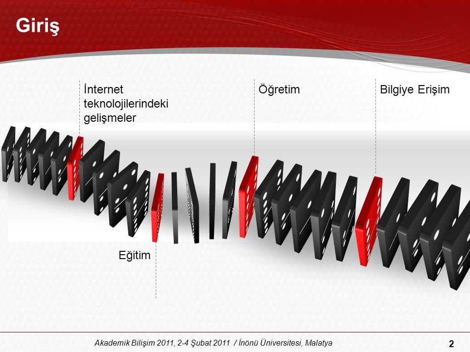 43 Akademik Bilişim 2011, 2-4 Şubat 2011 / İnönü Üniversitesi, Malatya Sosyal Ağlar (3)  Sosyal ağların üstünlükleri; –Kolay kullanılabilirliği, –Ucuz olması –İnternetin olduğu her yerden her an ulaşılabilmesi  Bu özellikleriyle çevrim-içi öğrenme ortamlarında –paylaşım, –iletişim ve –dönütler açısından kolaylıklar sağlayabilir.
