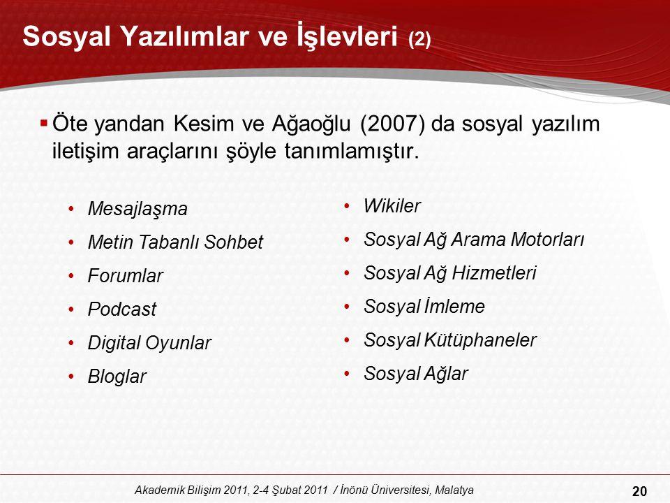20 Akademik Bilişim 2011, 2-4 Şubat 2011 / İnönü Üniversitesi, Malatya Sosyal Yazılımlar ve İşlevleri (2)  Öte yandan Kesim ve Ağaoğlu (2007) da sosy