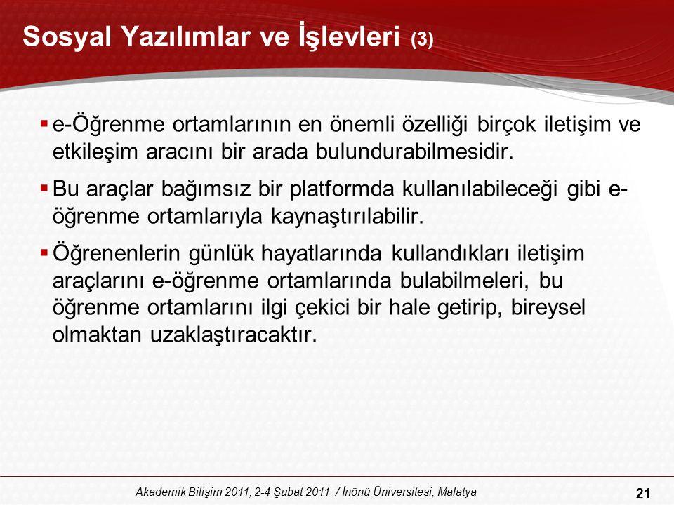 21 Akademik Bilişim 2011, 2-4 Şubat 2011 / İnönü Üniversitesi, Malatya Sosyal Yazılımlar ve İşlevleri (3)  e-Öğrenme ortamlarının en önemli özelliği
