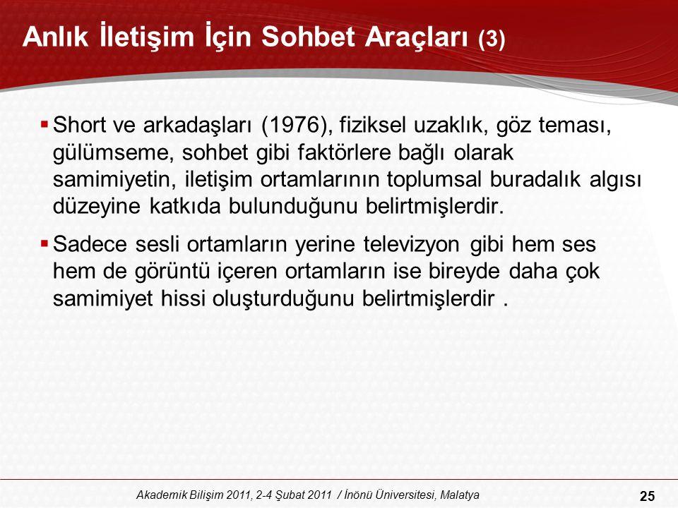 25 Akademik Bilişim 2011, 2-4 Şubat 2011 / İnönü Üniversitesi, Malatya Anlık İletişim İçin Sohbet Araçları (3)  Short ve arkadaşları (1976), fiziksel
