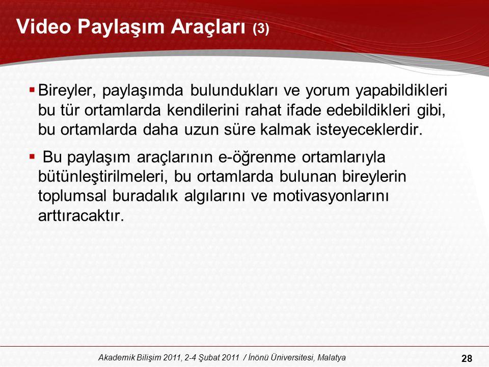 28 Akademik Bilişim 2011, 2-4 Şubat 2011 / İnönü Üniversitesi, Malatya Video Paylaşım Araçları (3)  Bireyler, paylaşımda bulundukları ve yorum yapabi