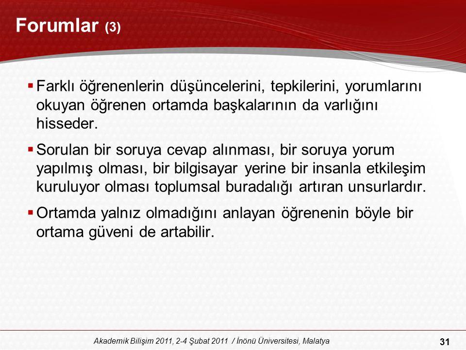 31 Akademik Bilişim 2011, 2-4 Şubat 2011 / İnönü Üniversitesi, Malatya Forumlar (3)  Farklı öğrenenlerin düşüncelerini, tepkilerini, yorumlarını okuy