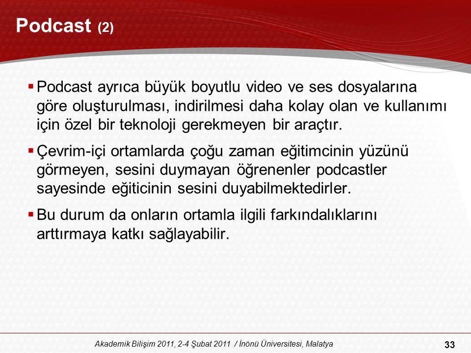 33 Akademik Bilişim 2011, 2-4 Şubat 2011 / İnönü Üniversitesi, Malatya Podcast (2)  Podcast ayrıca büyük boyutlu video ve ses dosyalarına göre oluştu