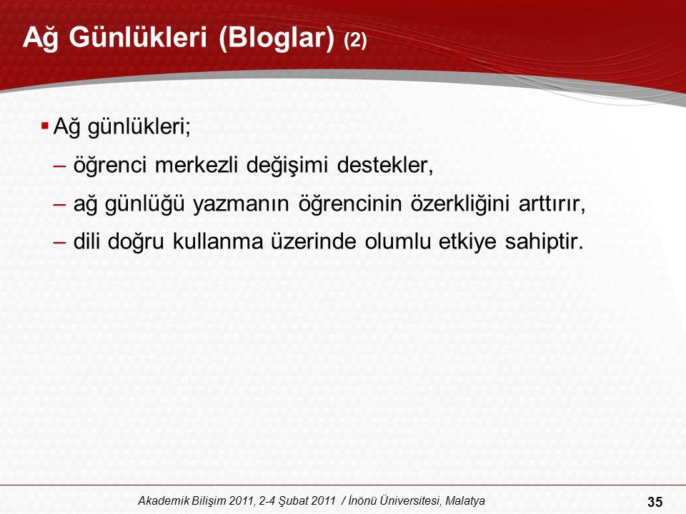 35 Akademik Bilişim 2011, 2-4 Şubat 2011 / İnönü Üniversitesi, Malatya Ağ Günlükleri (Bloglar) (2)  Ağ günlükleri; –öğrenci merkezli değişimi destekl