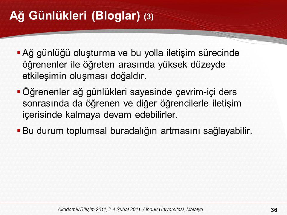 36 Akademik Bilişim 2011, 2-4 Şubat 2011 / İnönü Üniversitesi, Malatya Ağ Günlükleri (Bloglar) (3)  Ağ günlüğü oluşturma ve bu yolla iletişim sürecin