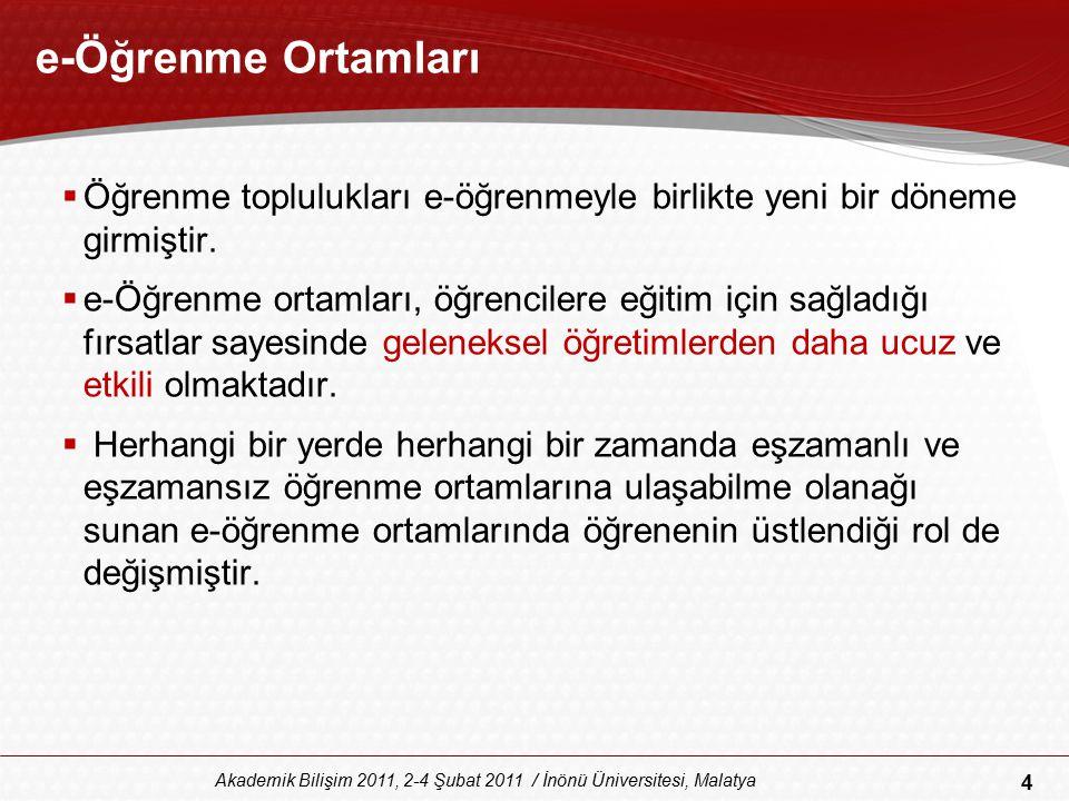 45 Akademik Bilişim 2011, 2-4 Şubat 2011 / İnönü Üniversitesi, Malatya Sonuç ve Öneriler  Sosyal iletişim araçları seçilirken öncelikli olarak göz önünde bulundurulması gereken durum öğrenenlerin özellikleridir.