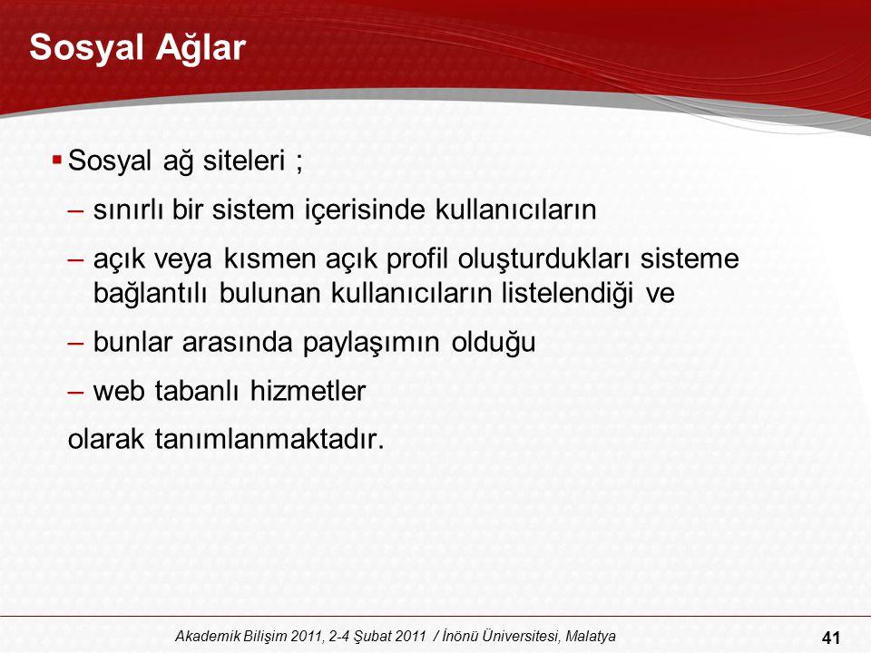 41 Akademik Bilişim 2011, 2-4 Şubat 2011 / İnönü Üniversitesi, Malatya Sosyal Ağlar  Sosyal ağ siteleri ; –sınırlı bir sistem içerisinde kullanıcılar