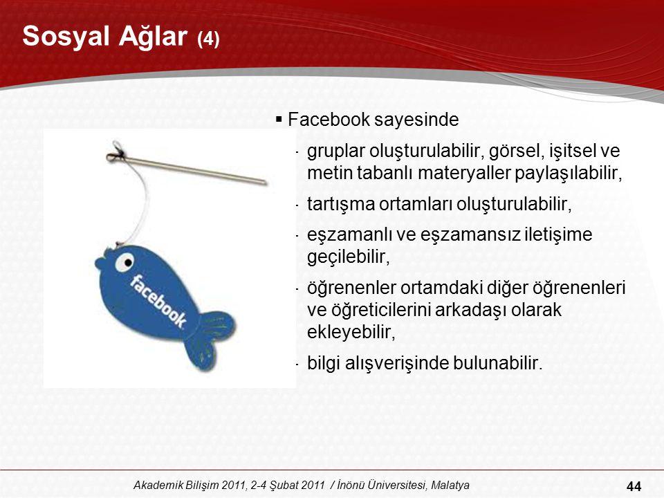 44 Akademik Bilişim 2011, 2-4 Şubat 2011 / İnönü Üniversitesi, Malatya Sosyal Ağlar (4)  Facebook sayesinde –gruplar oluşturulabilir, görsel, işitsel