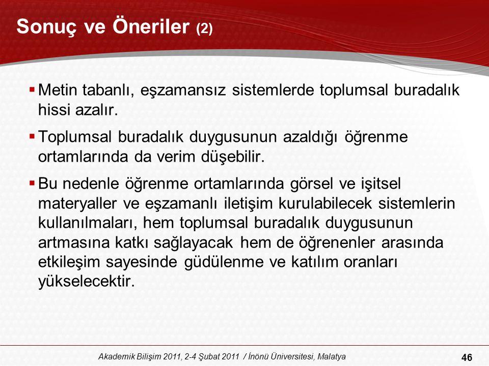 46 Akademik Bilişim 2011, 2-4 Şubat 2011 / İnönü Üniversitesi, Malatya Sonuç ve Öneriler (2)  Metin tabanlı, eşzamansız sistemlerde toplumsal buradal