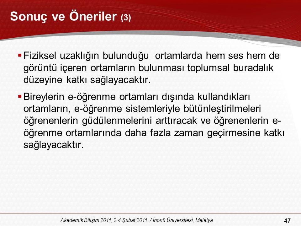 47 Akademik Bilişim 2011, 2-4 Şubat 2011 / İnönü Üniversitesi, Malatya Sonuç ve Öneriler (3)  Fiziksel uzaklığın bulunduğu ortamlarda hem ses hem de