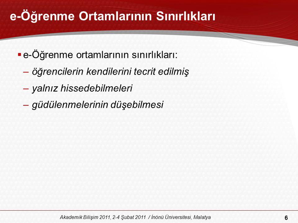 6 Akademik Bilişim 2011, 2-4 Şubat 2011 / İnönü Üniversitesi, Malatya e-Öğrenme Ortamlarının Sınırlıkları  e-Öğrenme ortamlarının sınırlıkları: –öğre