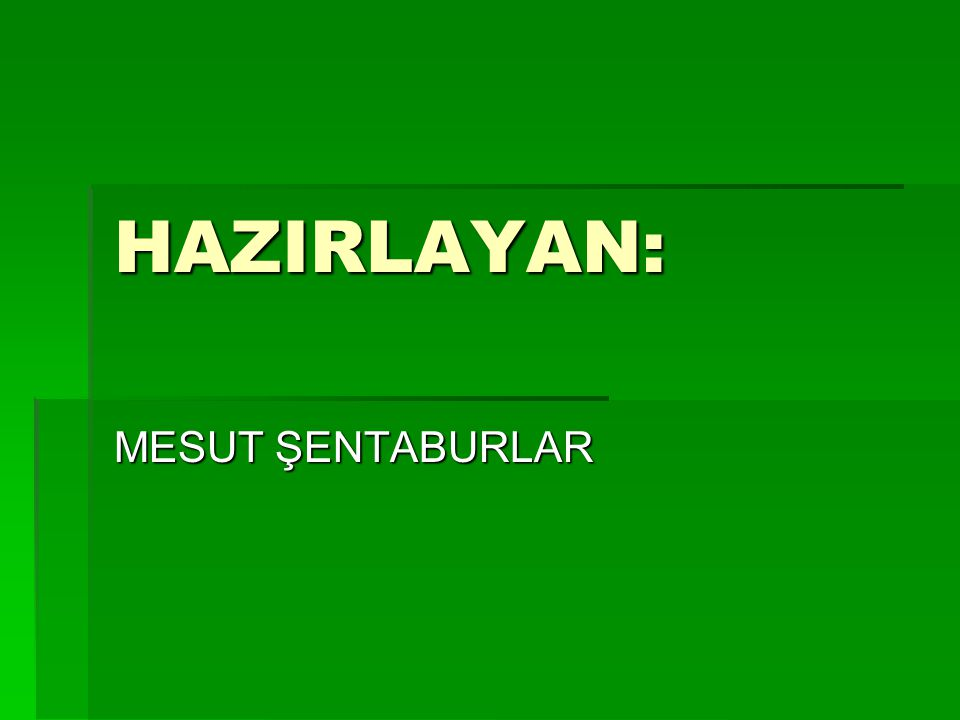 HAZIRLAYAN: MESUT ŞENTABURLAR